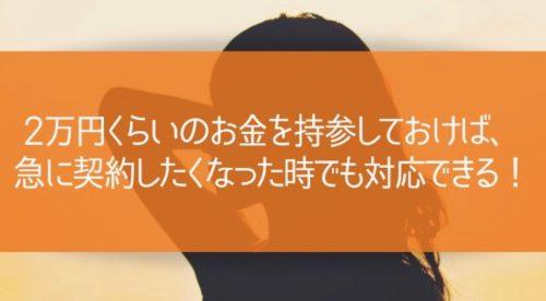 2万円くらいのお金を持参しておけば、急に契約したくなった時でも対応できる!